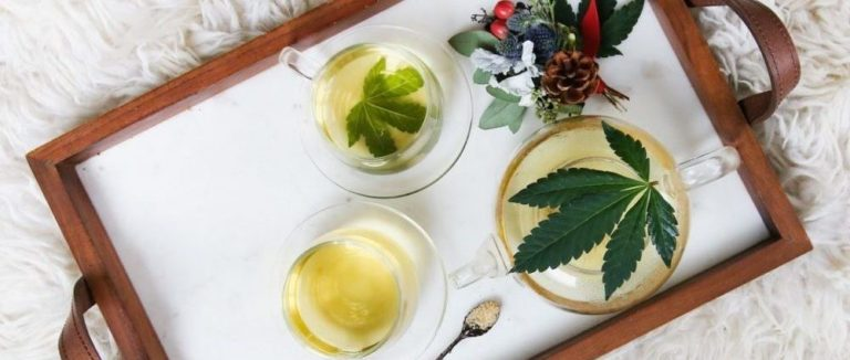 Platter with teas and cannabis flowers